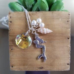 Mermaid Crystal & Seashell Necklace Set 3039